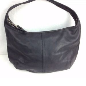 Vintage Coach Black Leather Hobo Purse Bag